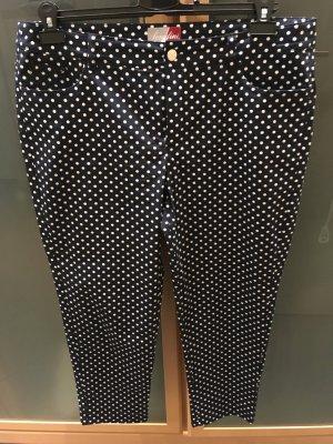 Serafini Pantalone cinque tasche blu scuro-bianco