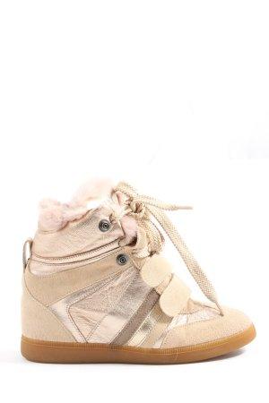 Serafini Zapatillas con tacón crema-rosa estilo extravagante