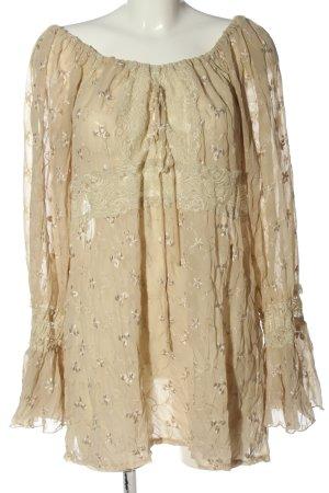 Serena Kay Blusa ancha crema estampado repetido sobre toda la superficie