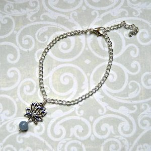 Bracelet silver-colored-azure metal