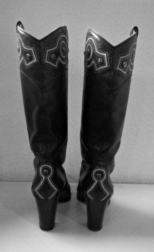 Sergio Rossi Botas estilo vaquero negro-color plata