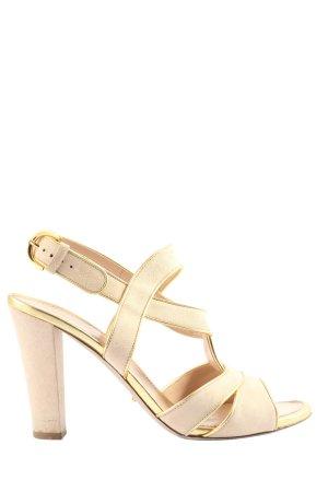 Sergio Rossi High Heels creme-goldfarben Elegant