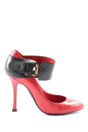 Sergio Rossi High Heels rot-schwarz Casual-Look