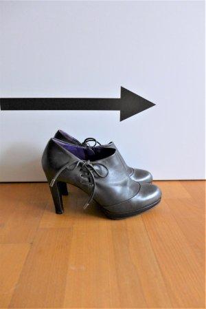 Sergio Rossi Leder Schuhe Ankle Boots Highheels anthrazit schwarz Gr. 37,5