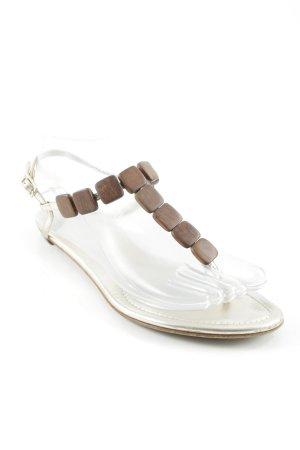 Sergio Rossi Riemchen-Sandaletten braun-silberfarben Dekoelemente