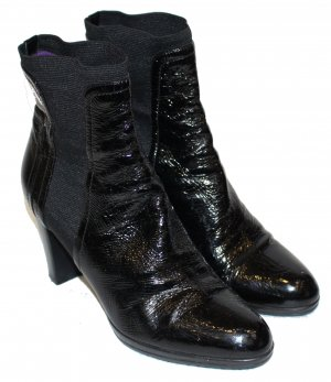 SERGIO ROSSI STIEFELETTEN Stiefel schwarz Lackleder Gr. 40,5