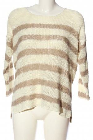 Serious sally Crochet Sweater natural white-brown striped pattern casual look