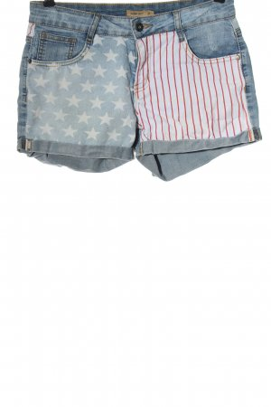 Serious sally Denim Shorts themed print casual look