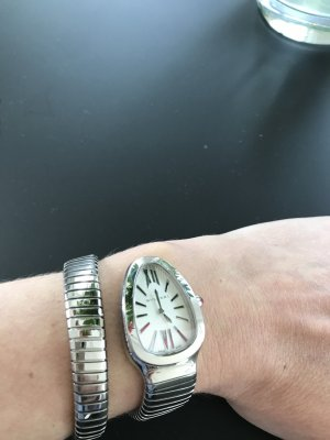 Bulgari Watch With Metal Strap silver-colored