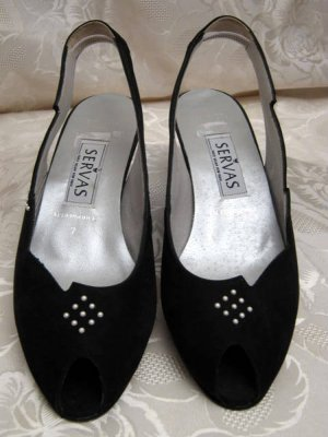 SERVAS Peeptoe Wedge Sandalette Größe 39 Schwarz Leder Sohle