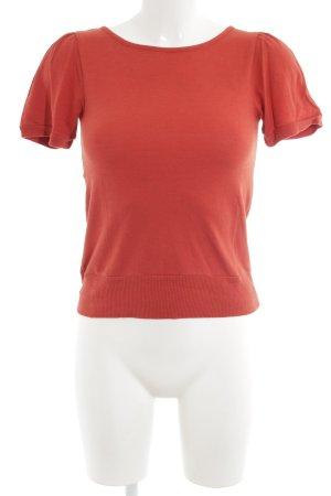 Sessun Strickshirt rostrot Lochstrickmuster schlichter Stil
