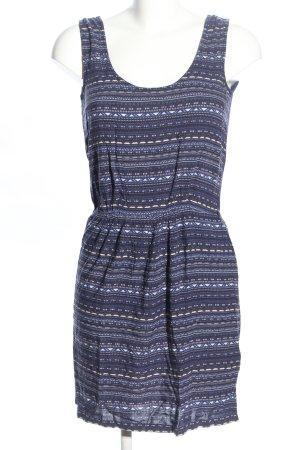 Sessun Trägerkleid blau-weiß grafisches Muster Casual-Look