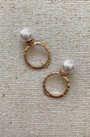 Set 2x Ringe Perlenring Gold Vintage Look Oversized Asos