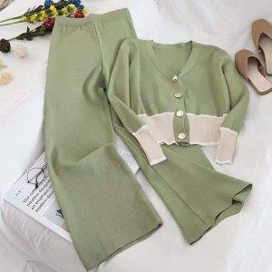 Dzianinowy podwójny zestaw  khaki-zielono-szary