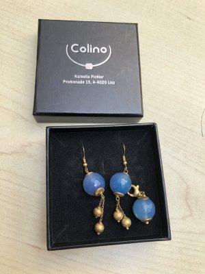 Set Anhänger Ohrring vergoldet blau