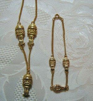 Set Armband Kette Modeschmuck Goldfarben