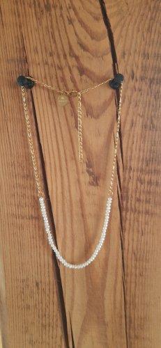 Set aus goldener Perlenhalskette und goldenem Perlenarmband | Purelei