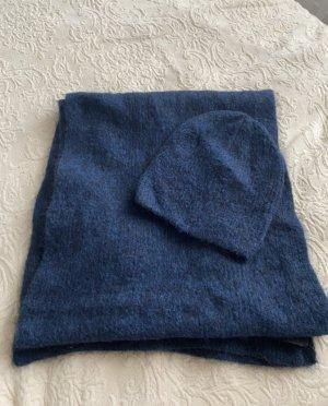 COS Écharpe en laine bleu foncé