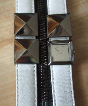 Karl Lagerfeld Montre avec bracelet en cuir blanc cuir