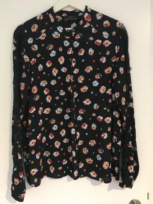Set Bluse in schwarz mit Spitze und Blumenprint