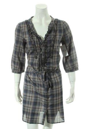 Set Blouse Dress grey-dark blue check pattern casual look