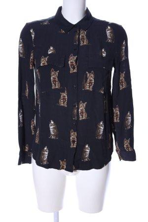 Set Colletto camicia nero-marrone motivo animale stile casual