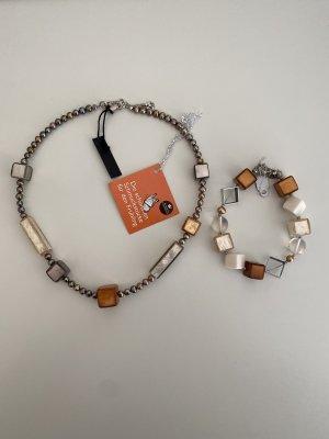 Set Culture Mix Kette und Armband Braun/Grau NEU