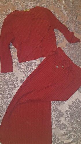 E&D Ensemble en tricot rouge foncé-rouge carmin