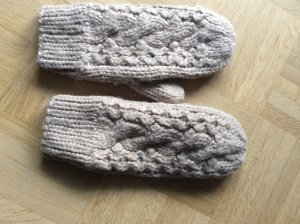 Barts Mittens grey brown-oatmeal wool