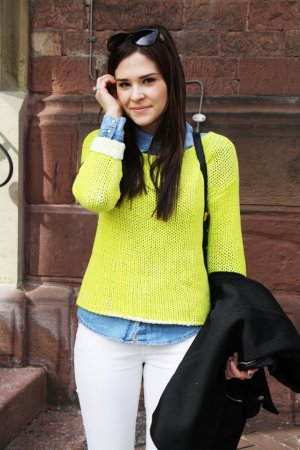 SET Fashion Häkelpullover, neongelb