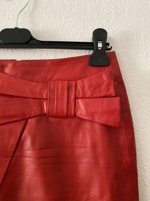Set Fashion Leather Skirt brick red