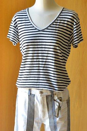 SET Fashion XS/S Leinen Basic Shirt Leinenshirt Ringelshirt Streifen Kurzarm Schwarz-Weiß gestreift