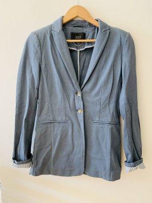 SET - figurbetonender graublauer Blazer aus Baumwolljersey
