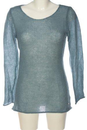 Set Szydełkowany sweter niebieski-jasnoszary Nadruk z motywem Elegancki