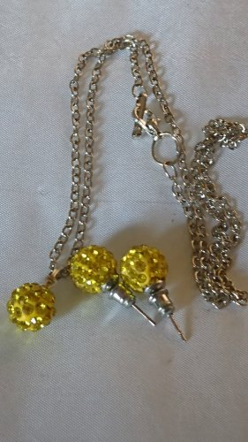 Set Halskette Collier und Ohrringe Kugel gelb mit Strasssteine
