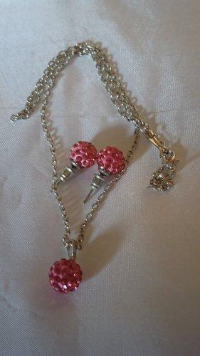 Set Halskette Collier und Ohrringe pink Kugel mit Strasssteine