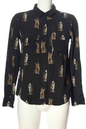 Set Koszulowa bluzka czarny-brązowy Na całej powierzchni W stylu casual