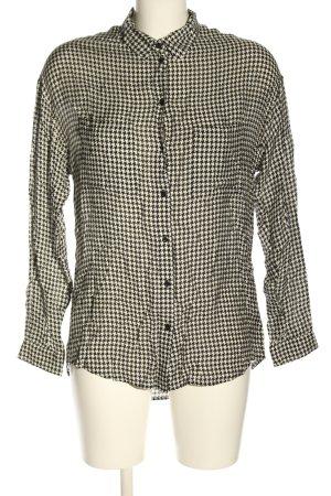 Set Hemd-Bluse weiß-schwarz Allover-Druck Casual-Look
