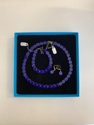 Set Iridium Armband, Kette und Ohrringe handgearbeitet Lila NEU
