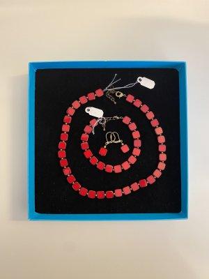 Set Iridium Armband, Kette und Ohrringe handgearbeitet Rot NEU