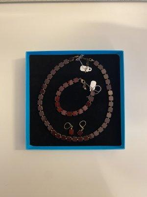 Set Iridium Kette, Armband und Ohrringe handgearbeitet Braun NEU