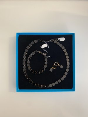 Set Iridium Kette, Armband und Ohrringe handgearbeitet Schwarz NEU
