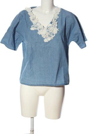 Set Blouse en jean bleu moucheté style décontracté