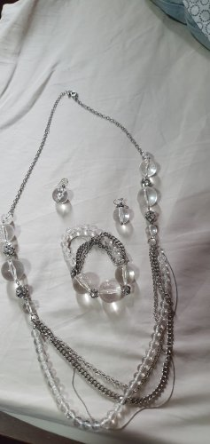 Set Kette Ohrringe und Armband silber