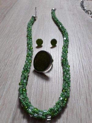 Set Kette, Ohrstecker, Ring, grün, neu, Modeschmuck