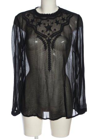 Set Langarm-Bluse schwarz Elegant
