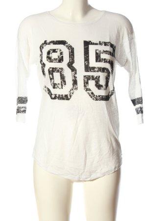 Set Langarm-Bluse weiß-schwarz Schriftzug gedruckt Casual-Look