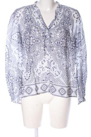 Set Langarm-Bluse hellgrau-weiß abstraktes Muster Casual-Look