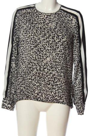 Set Langarm-Bluse weiß-schwarz abstraktes Muster Casual-Look