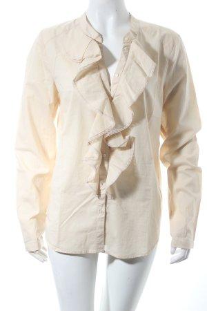 Set Langarm-Bluse beige Spitzenbesatz